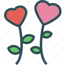 flower, heart, love, romance icon