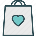 bag, heart, love, romance icon