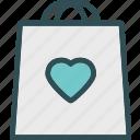 bag, heart, love, romance
