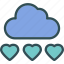 cloud, heart, love, romance icon