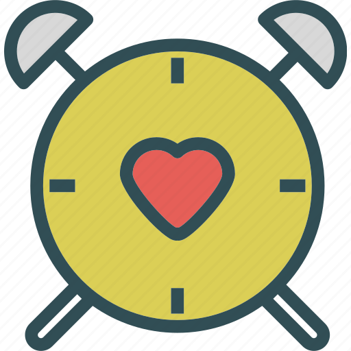 alarm, clock, heart, love, romance, watch icon