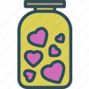 heart, jar, love, romance icon