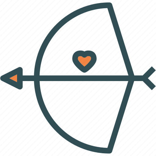 bow, cupid, heart, love, romance icon