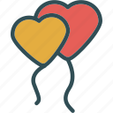 balloons, heart, love, romance icon