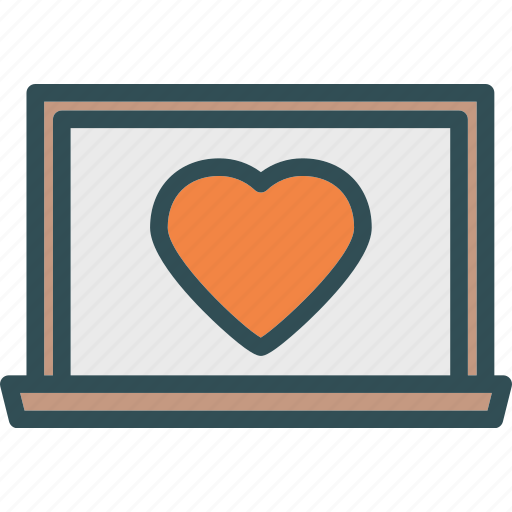 heart, laptop, love, romance icon