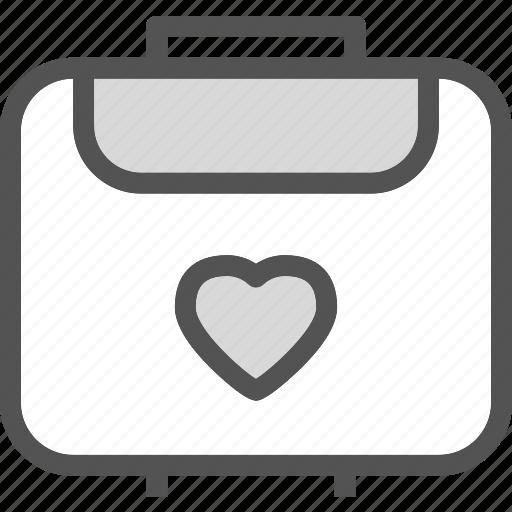 heart, love, romance, uggage icon