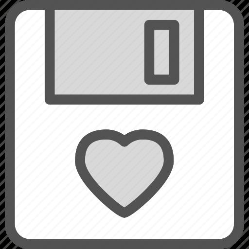 heart, loppydisk, love, romance icon