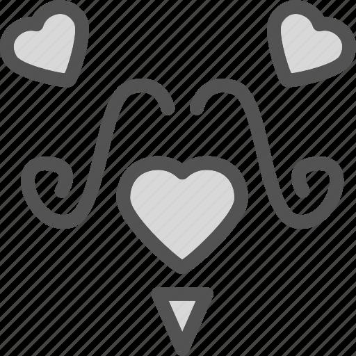 heart, love, romance, ustache icon