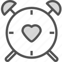clock, heart, larm, love, romance, watch icon