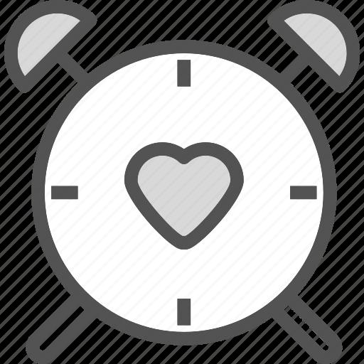 clock, heart, larm, love, romance, watch icon