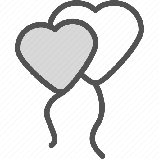 alloons, heart, love, romance icon