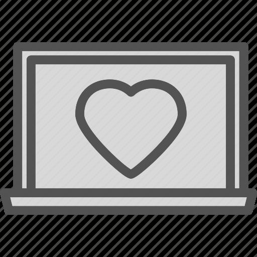 aptop, heart, love, romance icon