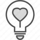 heart, ighbulb, love, romance icon