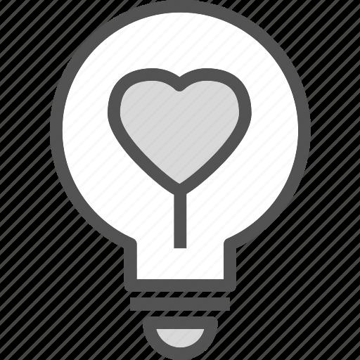 heart, ighbulb, love, romance icon