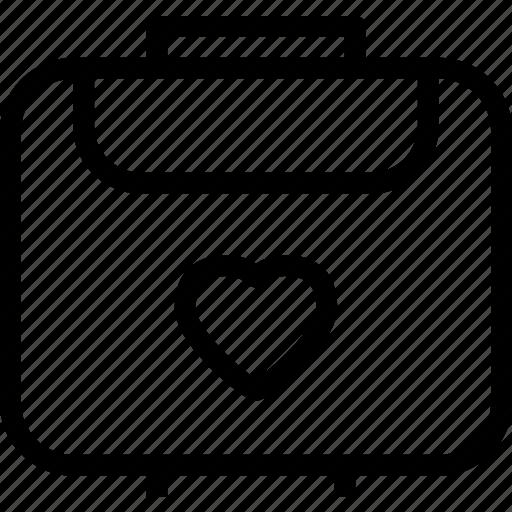 heart, love, luggage, romance icon
