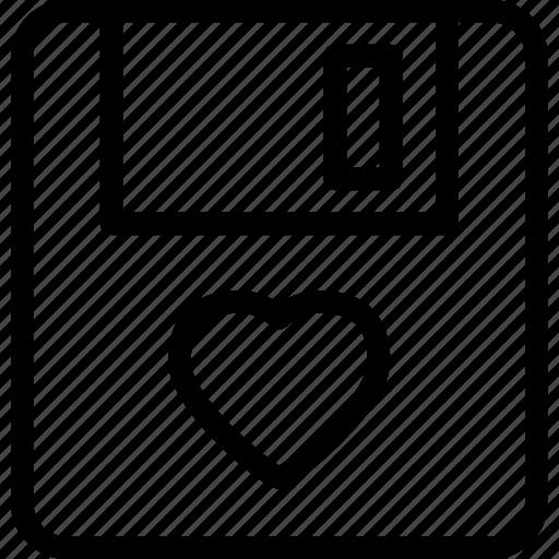 floppydisk, heart, love, romance icon