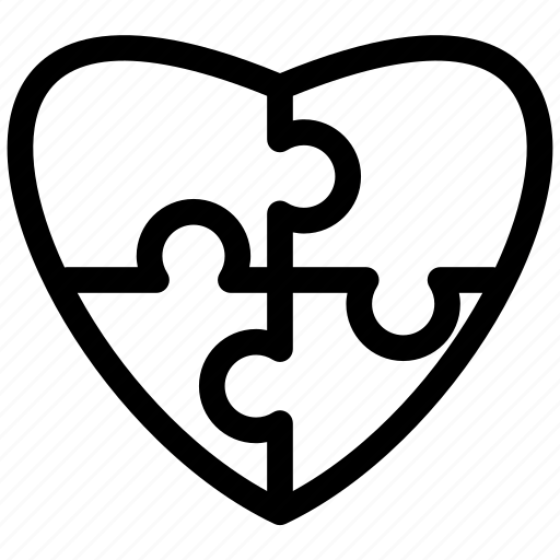 heart, jigsaw, love, puzzle icon