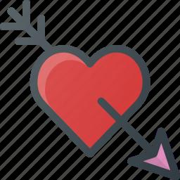 arrow, heart, in, love, romantic icon