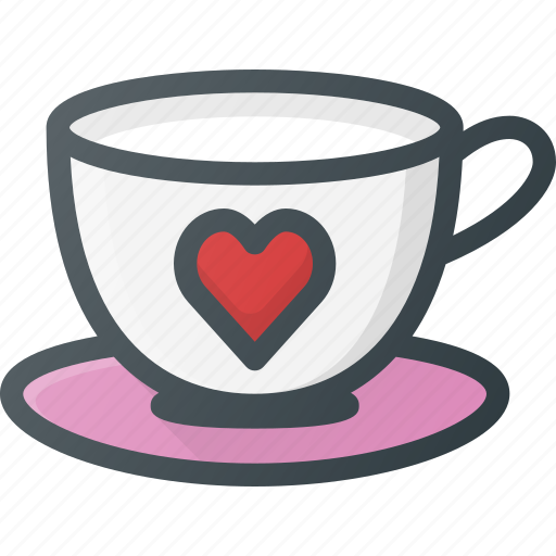 celebration, coffee, cup, heart, love, romantic, with icon