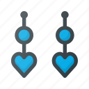earrings, heart, jewelry icon