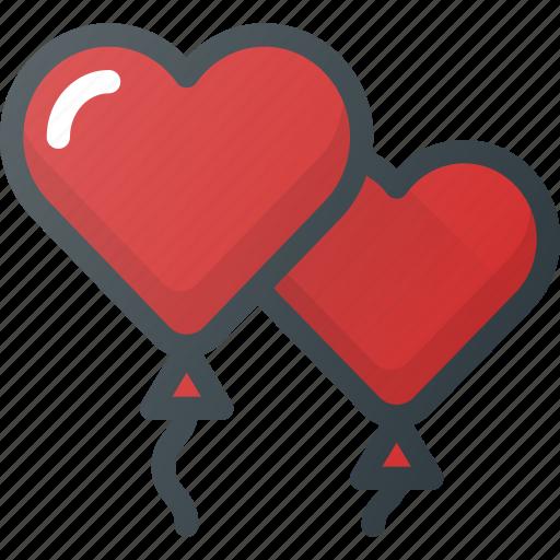 balloons, celebration, day, heart, love, romantic icon