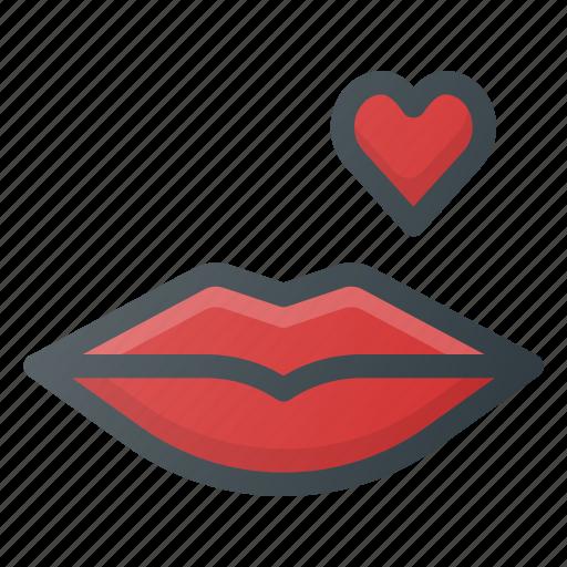 kiss, lips, love icon