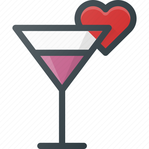 cocktail, love icon