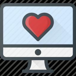 computer, love, message icon