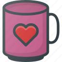 celebration, day, heart, love, mug, romantic, with icon