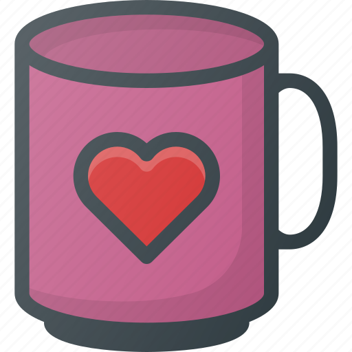 Celebration, day, heart, love, mug, romantic, with icon - Download on Iconfinder