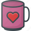 celebration, day, heart, love, mug, romantic, with icon