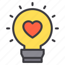 bulb, couple, design, heart, light, love icon