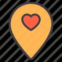 couple, design, heart, location, love icon