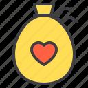bag, couple, design, heart, love icon