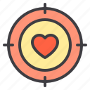 couple, design, heart, love, target icon