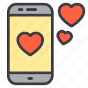 couple, design, heart, love, smartphone icon