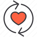 couple, design, heart, love, sync icon