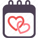 calendar, day, favorite, heart, love, month, valentine icon