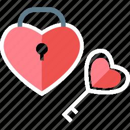 favorite, key, lock, locked, love, password, protection icon
