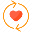 couple, design, heart, love, sync icon