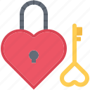 day, heart, key, lock, love, relationship, valentine icon