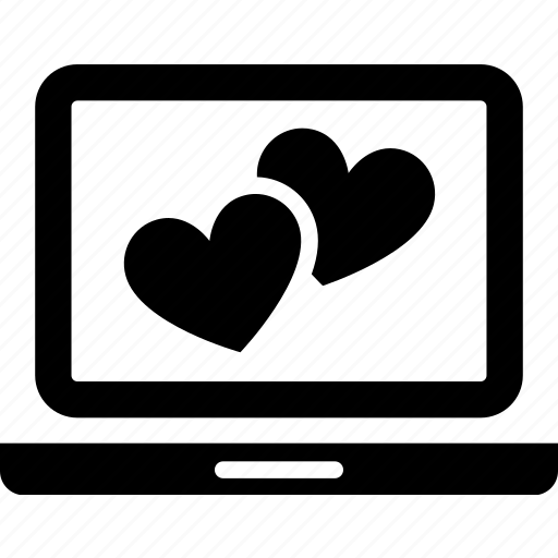couple, heart, laptop, love, online, relationship, valentine icon