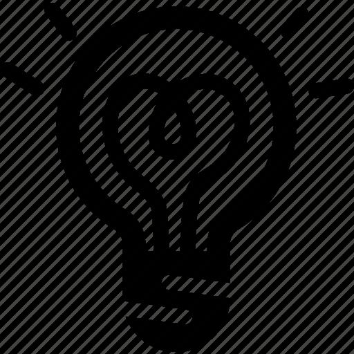 bulb, heart, light, love, spark, valentine icon
