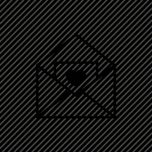 email, envelope, heart, letter, love, romantic icon