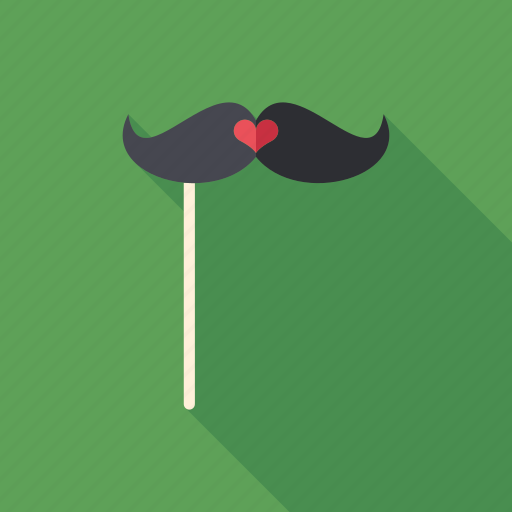 comical, fashion, heart, hipster, love, mustache, party icon