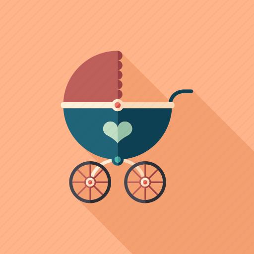 baby, buggy, carriage, perambulator, pram, retro, stroller icon