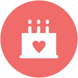 cake, candles, decorated cake, dessert, happiness, heart sign, valentine day icon