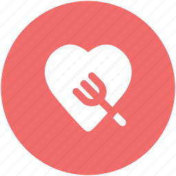 dining, food menu, fork sign, gourmet, heart, romantic dinner, valentine dining icon