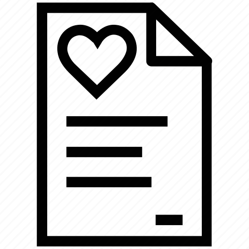 document, file, heart file, loving, romance icon