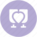 cheers, drink, heart sign, love perception, passion, sentimental, valentine day icon